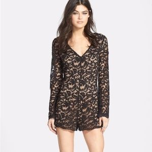 ASTR Black and Nude Long Sleeve Lace Romper- XS